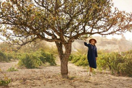 Photo pour Les gens dans la nature. Belle femme en chapeau et robe près de l'arbre vert dans la vallée de la vigne. Haute résolution - image libre de droit