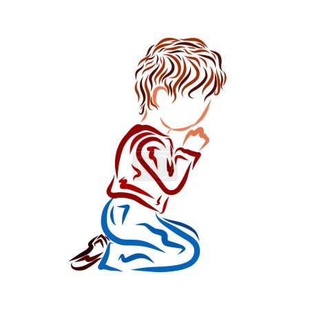 Photo for Praying boy on his knees - Royalty Free Image
