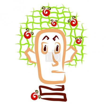 der Kopf eines Mannes, der einem Baum mit Früchten ähnelt