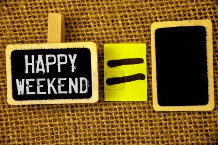 Photo for Text sign showing Happy Weekend. Conceptual photo Wishing you have a good relaxing days Get rest Celebrate Enjoy - Royalty Free Image