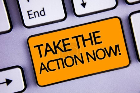 Word writing text Take The Action Now Motivational Call. Business concept for Act Start Promptly Immediate Instantly Silvery keyboard yellow button two arrow key have endless opportunity