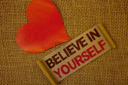 Photo for Word writing text Believe In Yourself. Business concept for Determination Positivity Courage Trust Faith Belief Lavender pink page with red border and content pink paper heart lovely trice - Royalty Free Image