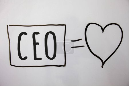 Conceptual hand writing showing Ceo. Business photo showcasing Chief Executive Officer Head Boss Chairperson Chairman Controller Ideas messages heart white background intentions feelings