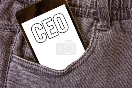 Word writing text Ceo. Business concept for Chief Executive Officer Head Boss Chairperson Chairman Controller Cell phone jean pocket white screen message communicate applications
