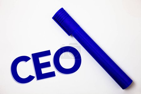 Handwriting text Ceo. Concept meaning Chief Executive Officer Head Boss Chairperson Chairman Controller Ideas messages white background blue marker feelings intentions