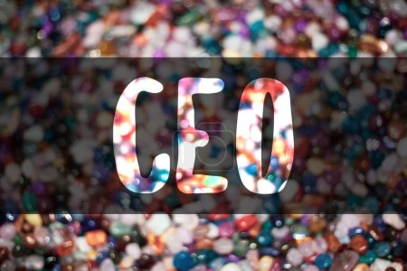 Text sign showing Ceo. Conceptual photo Chief Executive Officer Head Boss Chairperson Chairman Controller Blurry candies candy ideas message reflection sweets thoughts communicate