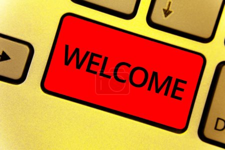 Word writing text Welcome. Business concept for Warm salutation acknowledgement for someone amiable loved thanked Keyboard key Intention create idea yellow computer brown keypad notebook