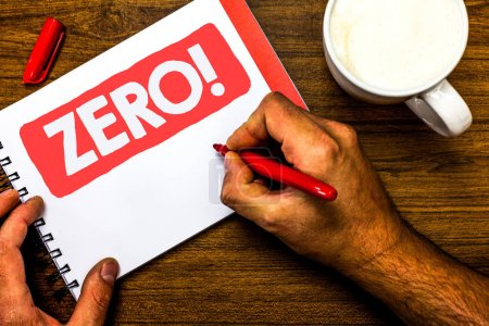 Text sign showing Zero Motivational Call. Conceptual photo The emptiness nothingness of something no value Cup marker red pen notepad white paper nice ideas thought art work wood