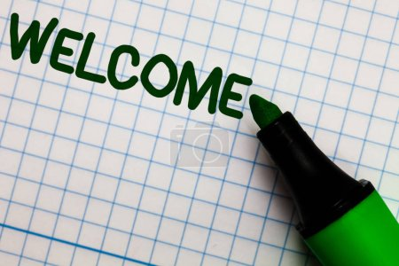 Writing note showing Welcome. Business photo showcasing Warm salutation acknowledgement for someone amiable loved thanked Graph paper marker pen ideas theories practical work important white