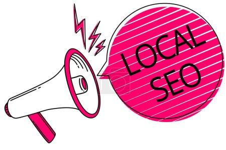 Signo de texto que muestra Local Seo. Foto conceptual Esta es una manera efectiva de comercializar su negocio en línea Megáfono altavoz voz rosa burbuja rayas mensaje fuerte importante