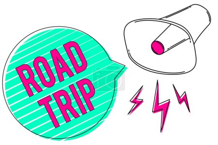 Conceptual hand writing showing Road Trip. Business photo showcasing Roaming around places with no definite or exact target location Megaphone green speech bubble stripes important loud message