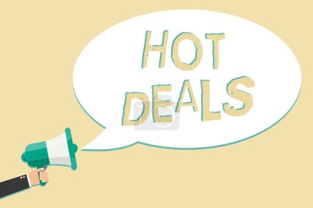 Writing note showing Hot Deals