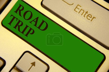 Conceptual hand writing showing Road Trip. Business photo text Roaming around places with no definite or exact target location Keyboard green key create computer computing reflection document