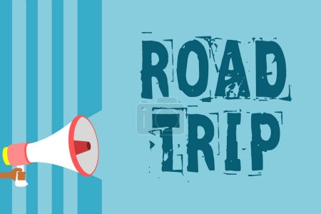 Text sign showing Road Trip. Conceptual photo Roaming around places with no definite or exact target location Megaphone loudspeaker blue stripes important message speaking out loud