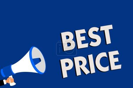 Photo pour Note d'écriture montrant le meilleur prix. Photo d'affaires présentant Acheteur ou vendeur peut obtenir quelque chose pour un produit vendu ou acheter Homme tenant mégaphone haut-parleur bleu message de fond parlant - image libre de droit