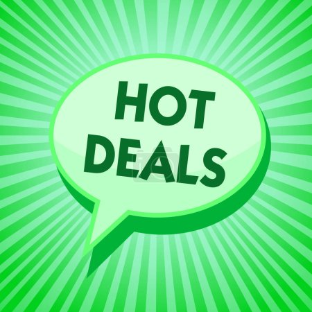 Text sign showing Hot Deals