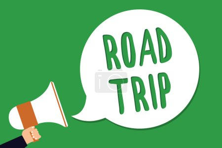 Conceptual hand writing showing Road Trip. Business photo showcasing Roaming around places with no definite or exact target location Man holding megaphone loudspeaker screaming green background