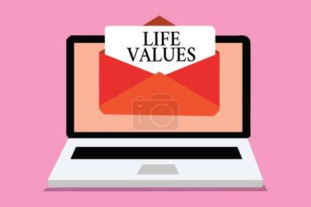 Photo pour Conceptuelle main écrit montrant les valeurs de la vie. Photo d'entreprise mettant en vedette des choses qui vous paraissent importantes dans la façon dont vous vivez ordinateur recevant l'enveloppe de message e-mail avec papier virtuel - image libre de droit