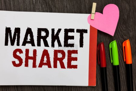 Word writing text Market Share. Business concept for The portion of a market controlled by a particular company Open notebook page markers clothespin holding paper heart wooden background.