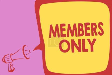 Escritura a mano redacción de texto Solo Miembros. Concepto significado Limitado a un individuo pertenece a un grupo o una organización Megáfono altavoz voz burbuja mensaje importante hablar en voz alta .