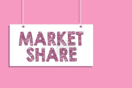 Conceptual hand writing showing Market Share. Business photo text The portion of a market controlled by a particular company Hang board communicate information open close sign pink background.