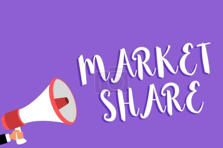 Conceptual hand writing showing Market Share. Business photo text The portion of a market controlled by a particular company Man holding megaphone loudspeaker purple background speaking loud.