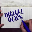 Writing note showing Digital Detox. Business photo...