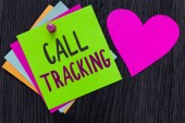 Text sign showing Call Tracking. Conceptual photo Organic search engine Digital advertising Conversion indicator Papers Romantic lovely message Heart Good feelings Wooden background.