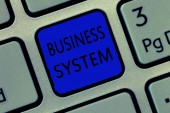 Writing note showing Business System. Business photo showcasing A method of analyzing the information of organizations