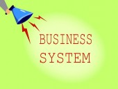 Conceptual hand writing showing Business System. Business photo showcasing A method of analyzing the information of organizations