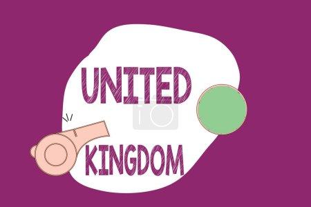 Photo pour Écriture manuscrite de texte Royaume-Uni. Concept signifiant Pays insulaire situé au large de la côte nord-ouest de l'Europe . - image libre de droit