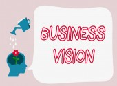 Text sign showing Business Vision. Conceptual photo grow your business in the future based on your goals
