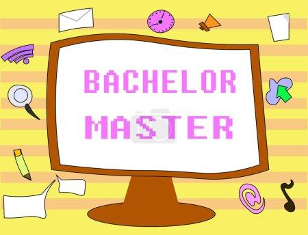 Photo pour Texte montrant Bachelor Master. Photo conceptuelle Un diplôme d'études supérieures obtenu après le baccalauréat . - image libre de droit
