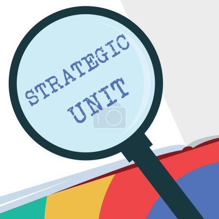 Photo pour Texte montrant l'Unité Stratégique. Centre conceptuel de profit photo axé sur l'offre de produits et segment de marché .. - image libre de droit