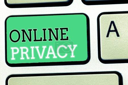 Photo pour Signe texte montrant la confidentialité en ligne. Photo conceptuelle Niveau de sécurité des données personnelles publiées via Internet . - image libre de droit