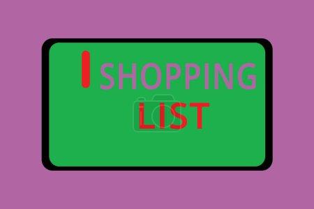 Photo pour Remarque montrant la Shopping List de l'écriture. Photo d'entreprise présentant l'approche de la Discipline pour faire du shopping pour acheter des Articles de base. - image libre de droit
