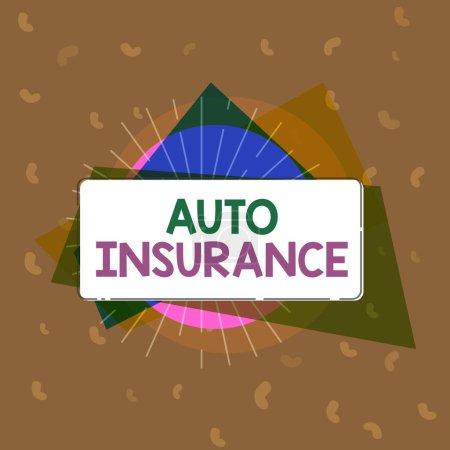 Photo pour Ecriture conceptuelle montrant l'assurance automobile. Texte de la photo d'entreprise Protection contre les pertes financières en cas d'accident . - image libre de droit