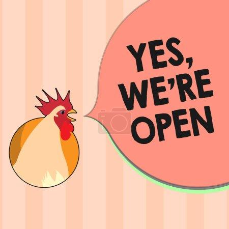 Textzeichen mit Ja, wir sind wieder offen. konzeptionelle Foto Beantwortung auf Client, dass Shop zu diesem Zeitpunkt verfügbar ist