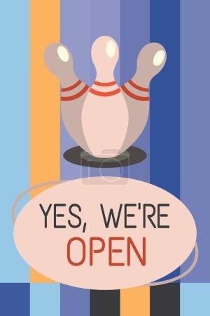 Text schreiben ja, wir sind offen. Geschäftskonzept für die Beantwortung des Kundenwunsches, dass das Geschäft zu diesem Zeitpunkt verfügbar ist
