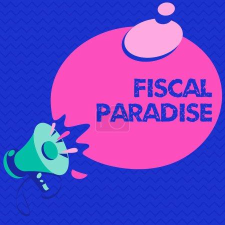 Photo pour Texte textuel Paradis fiscal. Concept d'entreprise pour Le gaspillage d'argent public est un sujet de grande préoccupation . - image libre de droit