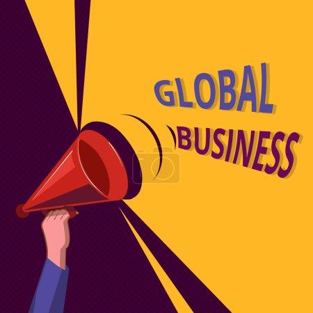 Photo pour Conceptuelle main écrit montrant Global Business. Commerce photo vitrine commerce et affaires une compagnie faisant à travers le monde. - image libre de droit