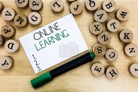 Photo for Writing note showing Online Learning. Business photo showcasing Larning with the assistance of the Internet and a computer. - Royalty Free Image