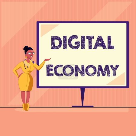 Photo for Word writing text Digital Economy. Business concept for worldwide network of economic activities and technologies. - Royalty Free Image