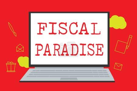 Photo pour Signe texte montrant le paradis fiscal. Photo conceptuelle Le gaspillage d'argent public est un sujet de grande préoccupation . - image libre de droit