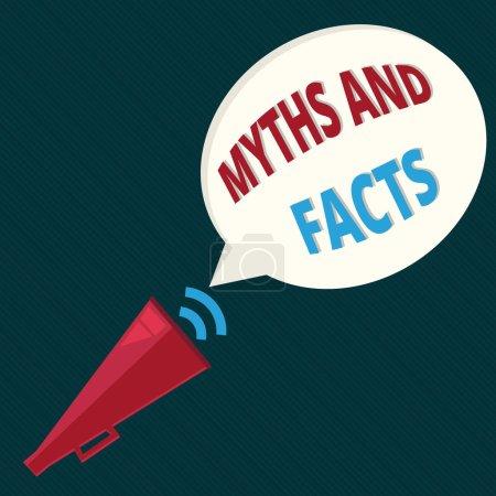 Photo pour Signe texte montrant Mythes et faits. Photo conceptuelle Concept oppositif sur la période moderne et ancienne . - image libre de droit