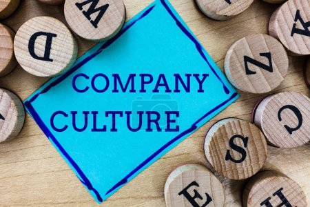 Photo for Word writing text Company Culture. Business concept for The environment and elements in which employees work. - Royalty Free Image