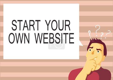 Textzeichen mit dem Start Ihrer eigenen Website. konzeptionelle Foto dienen als Erweiterung einer Visitenkarte eine persönliche Website