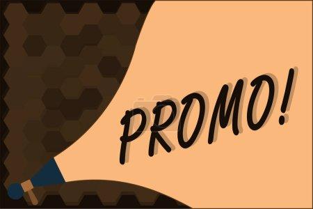 Photo pour Texte manuscrit Promo. Concept signifiant morceau de publicité ou de publicité en particulier sous forme de court métrage . - image libre de droit