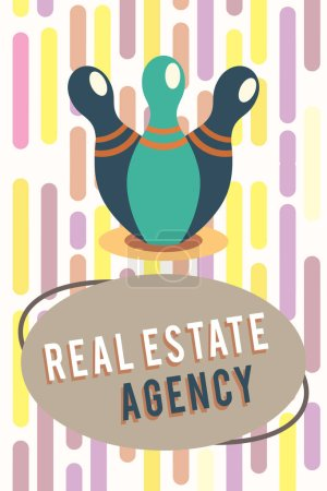 Photo for Text sign showing Real Estate Agency. Conceptual photo Business Entity Arrange Sell Rent Lease Manage Properties. - Royalty Free Image