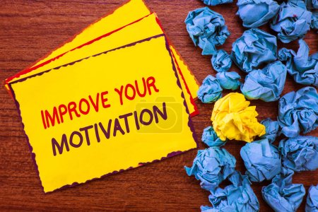 Photo for Writing note showing Improve Your Motivation. Business photo showcasing Boost your self drive Enhance Motives and Goals. - Royalty Free Image